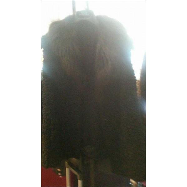 Γούνινο ζεστό γιλέκο αστραγκάν μαύρο