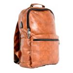 Backpack σακίδιο Laptop Καφέ-ταμπά σκούρομε θύρα USB, ERRES 19