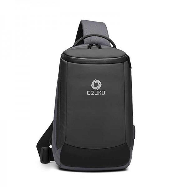 Unisex body Bag Σακίδιο Πλάτης , Θύρα USB, Αντικλεπτικό Ozuko 9078. Γκρι/Μαύρο