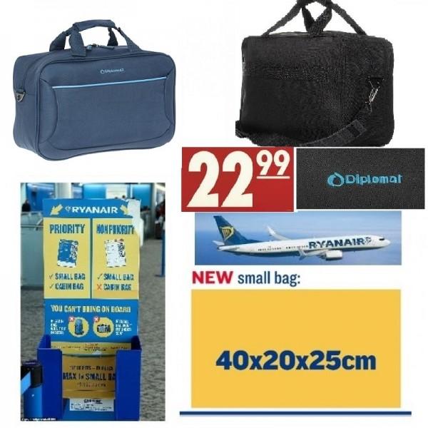 Ryanair ΔΩΡΕΑΝ χειραποσκευή καμπίνας 40x 20x 25 Diplomat μπλε