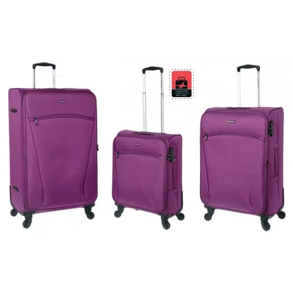 Set Βαλίτσες 3 Τεμαχίων ελαφριές με 4 Ρόδες Diplomat ZC614 μωβ