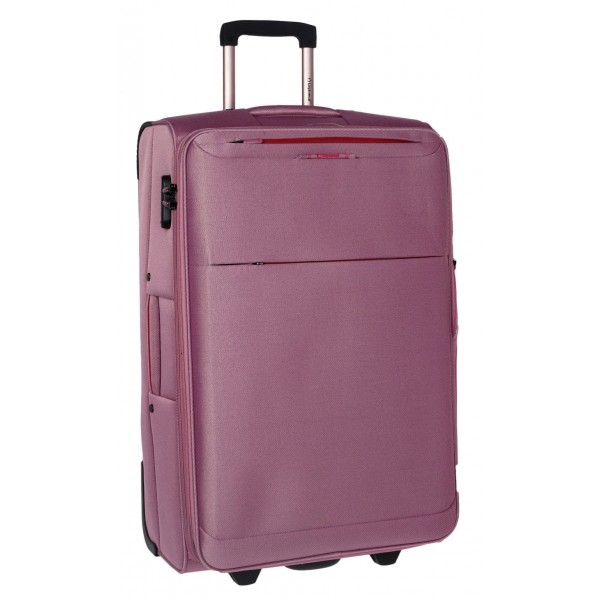 Υφασμάτινη βαλίτσα Μεγάλου μεγέθους με 2 ρόδες Diplomat the Athens collection 6039 large ροζ