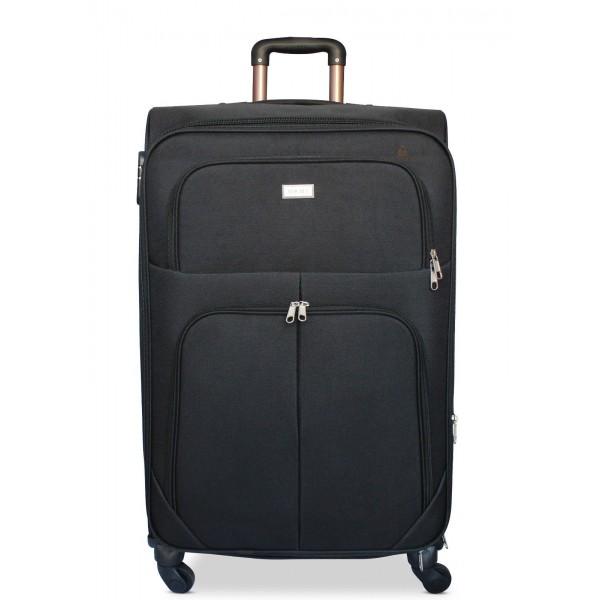 Μεγάλη βαλίτσα τρόλεϊ με 4 ρόδες & Επέκταση Μαύρη ORMI 75cm