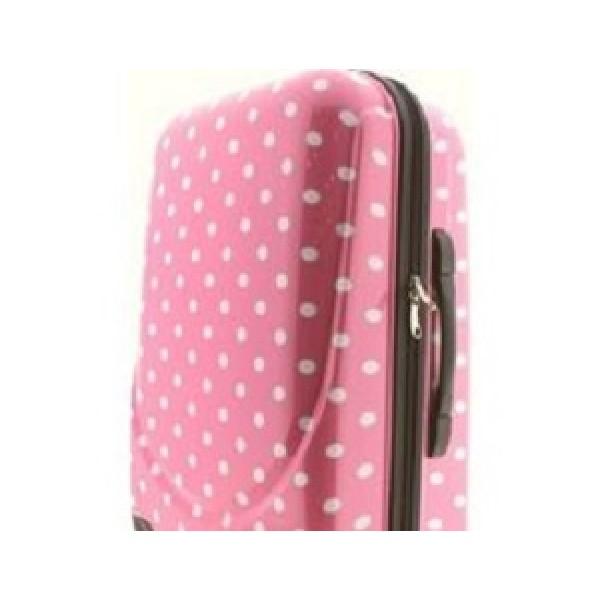 Πουά ροζ μεγάλη βαλίτσα σκληρή